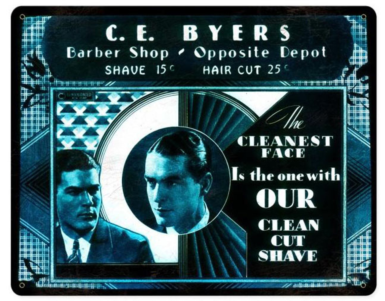 Ce Buyers barber Shop Vintage Metal Sign 15  x 12 Inches