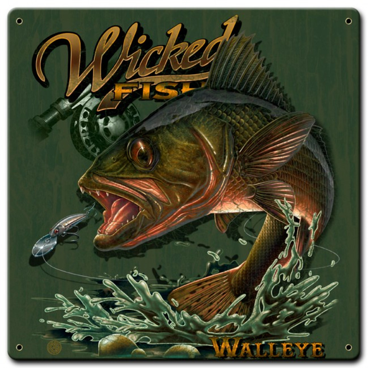Wicked Fish Walleye Metal Signs 12 x 12 Inches