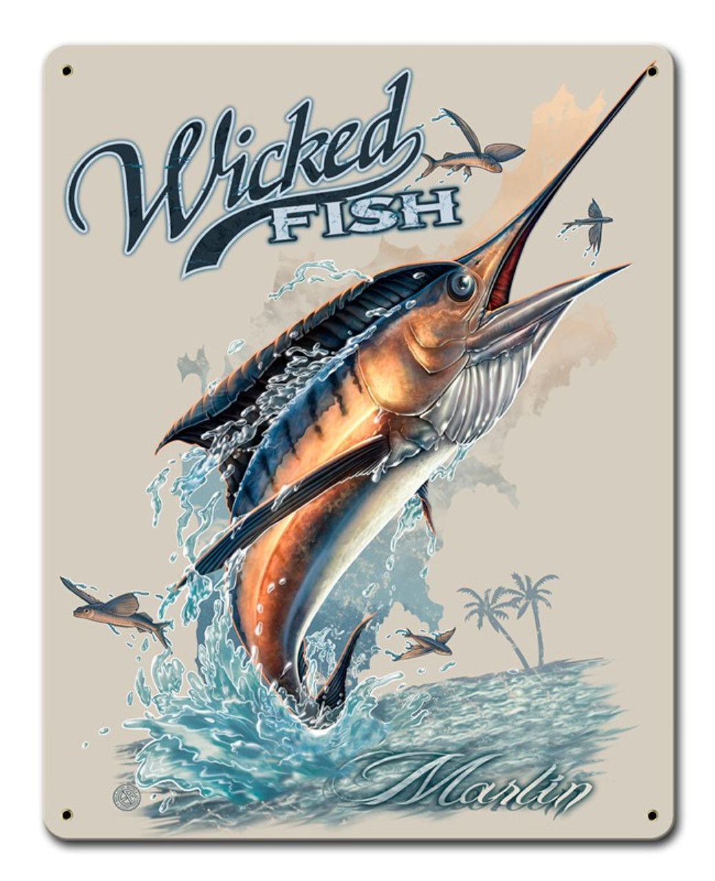 Wicked Fish Marlin Fish Metal Sign 12 x 15 Inches