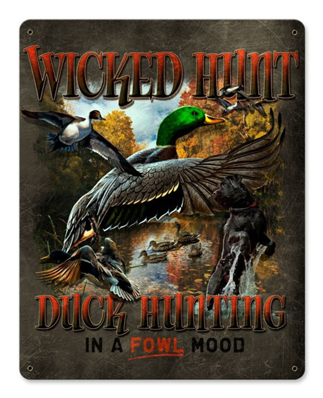 Duck Hunter Brown Background Metal Sign 12 x 15 Inches