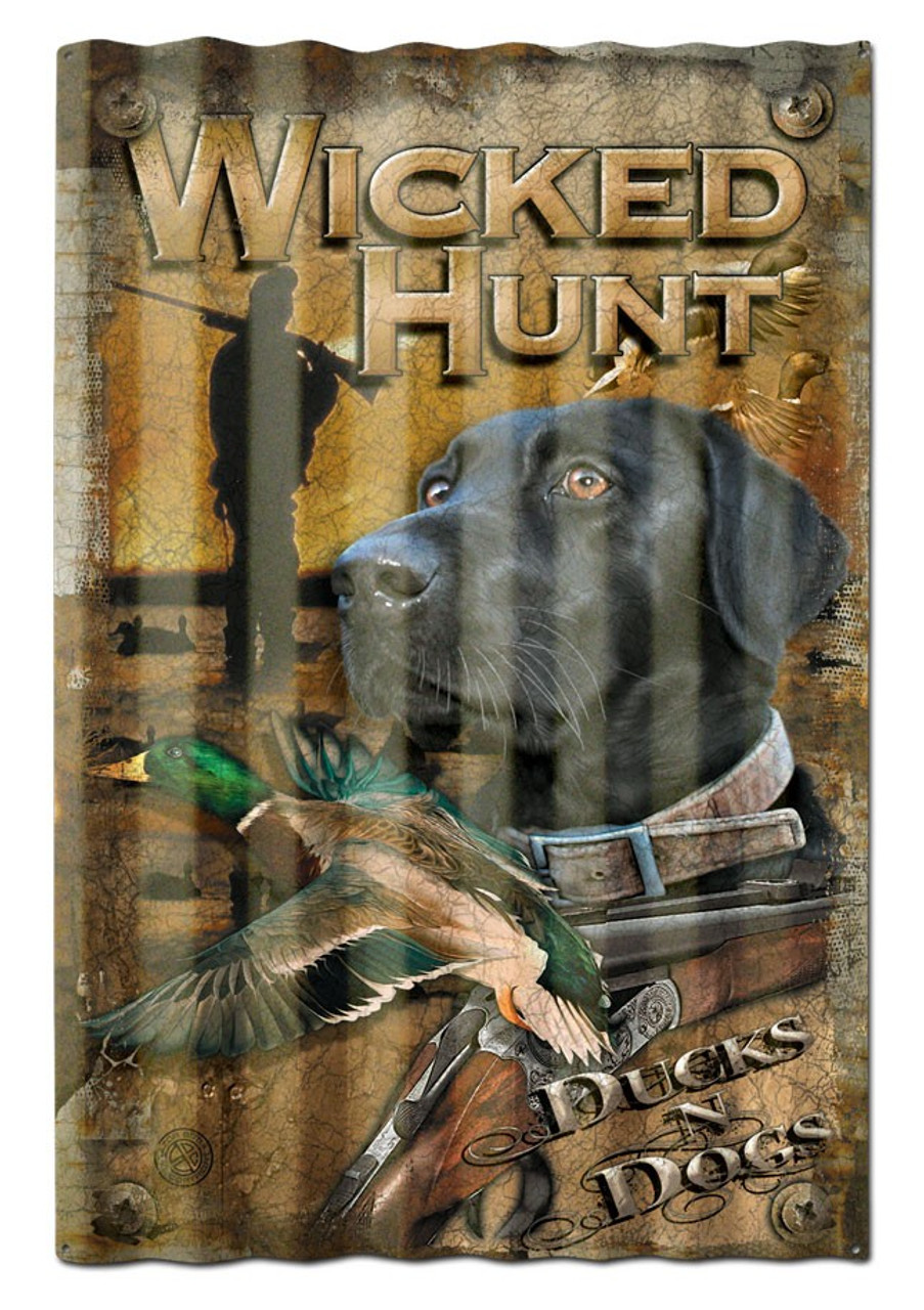 Ducks And Dogs Corrugated Metal Sign 16 x 24 Inches
