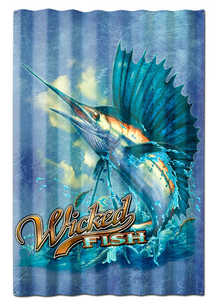 Sailfish Wicked Fish Corrugated Metal Sign 16 x 24 Inches