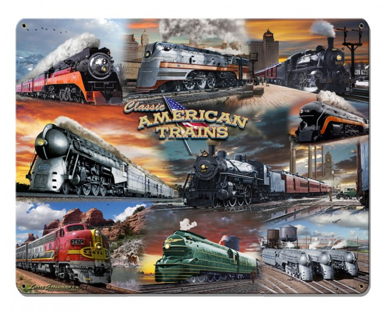 Collage Trains Metal Sign 30 x 24 Inches