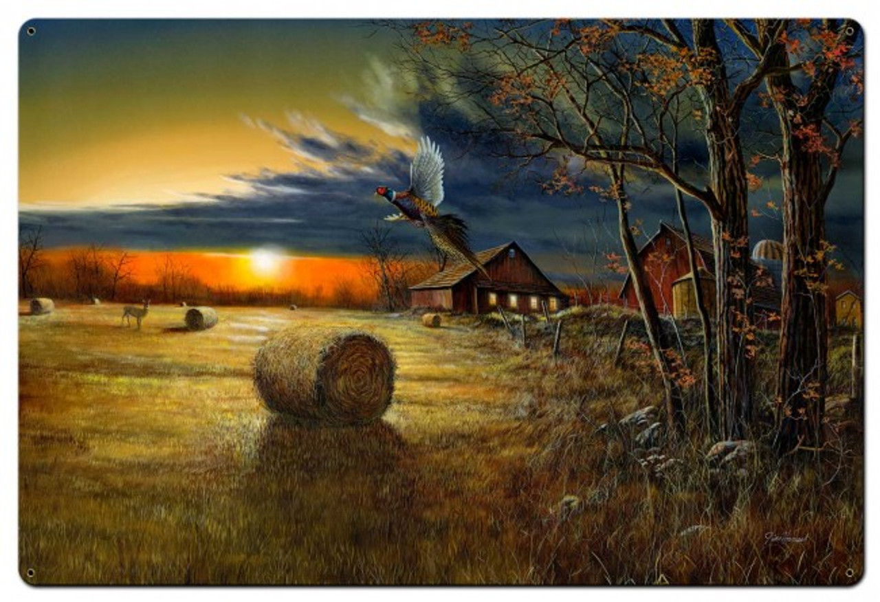 Autumn Harvest Metal Sign 36 x 24 Inches