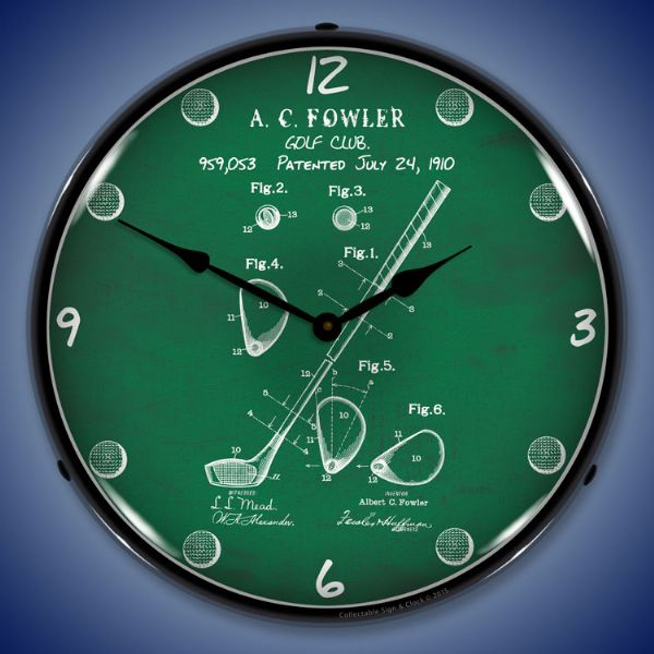 1910 Golf Club Patent Lighted Wall Clock 14 x 14 Inches