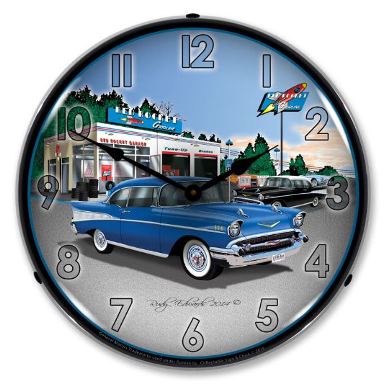 1957 Bel Air Rocket Gas Lighted Wall Clock 14 x 14 Inches