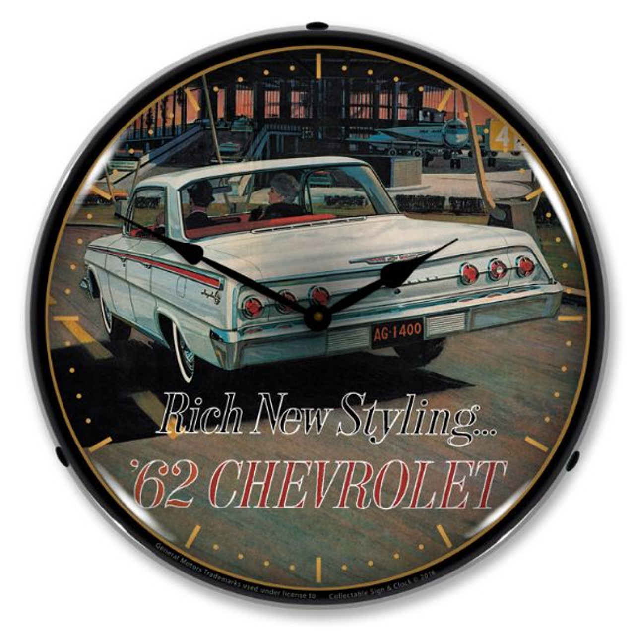 1962 Chevrolet Impala Lighted Wall Clock 14 x 14 Inches