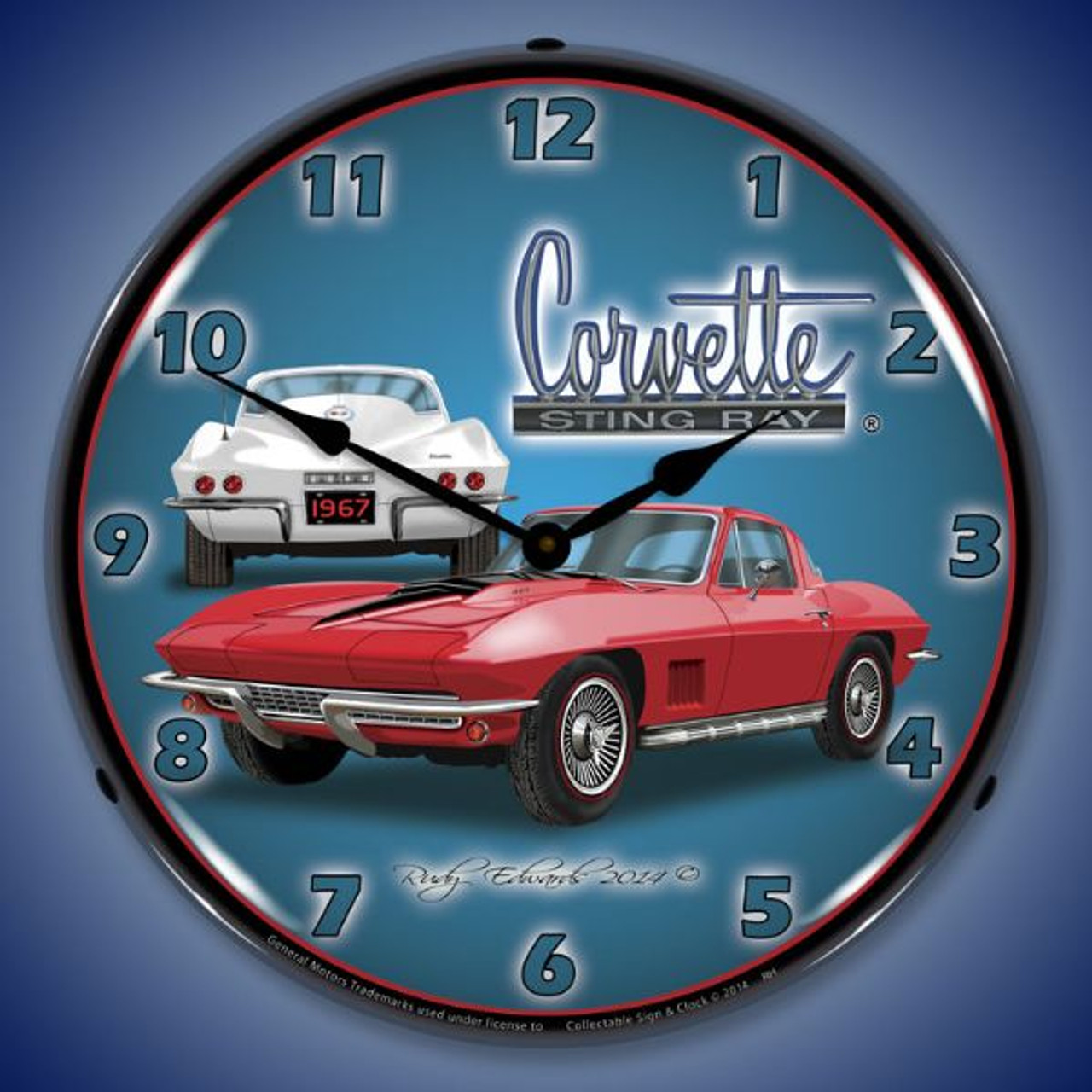 1967 Corvette Stingray Lighted Wall Clock 14 x 14 Inches