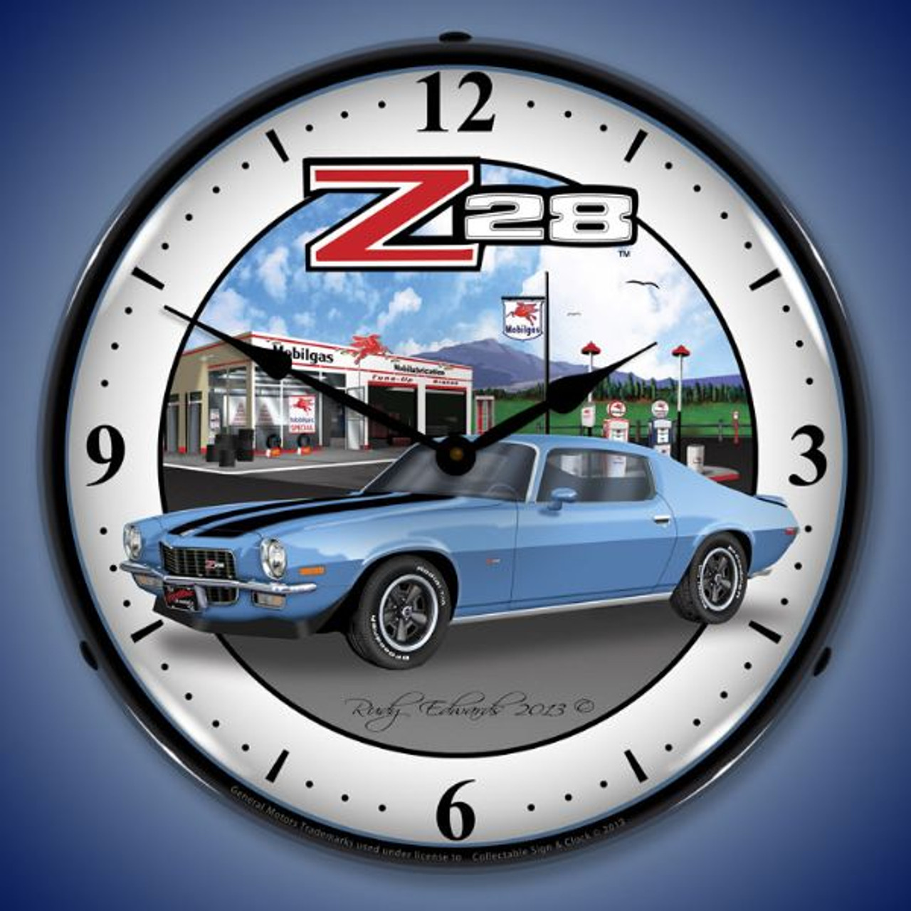 1970 Z28 Camaro Lighted Wall Clock 14 x 14 Inches
