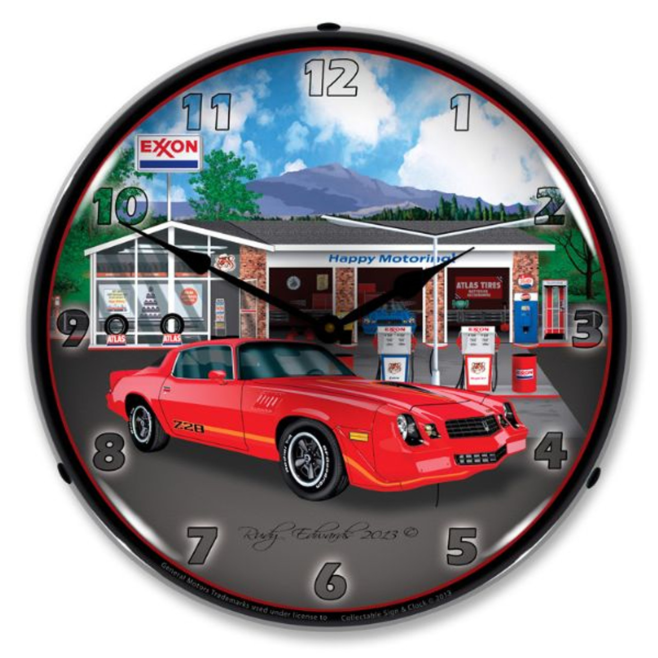 1979 Z28 Camaro Exxon Lighted Wall Clock 14 x 14 Inches