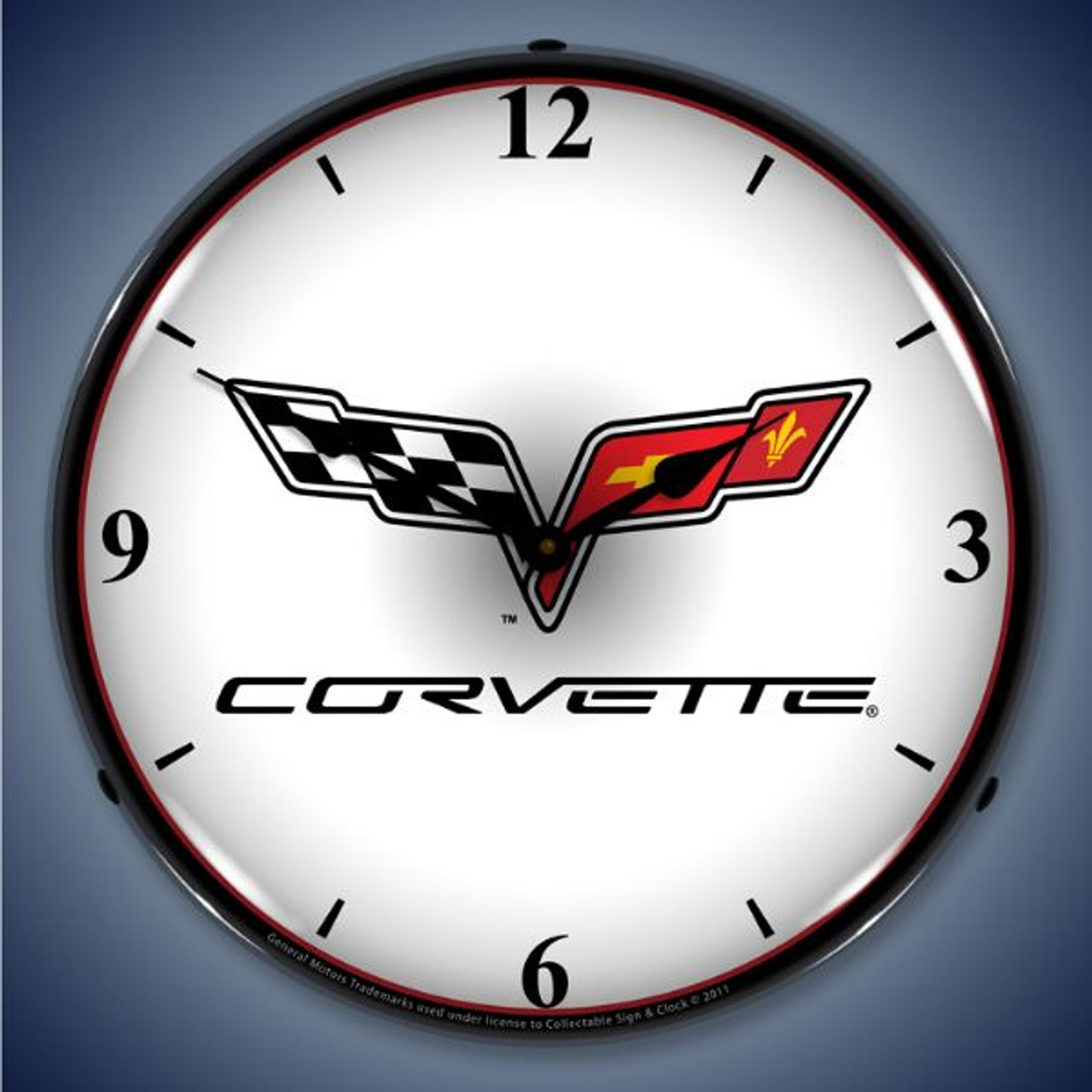 C6 Corvette Lighted Wall Clock 14 x 14 Inches