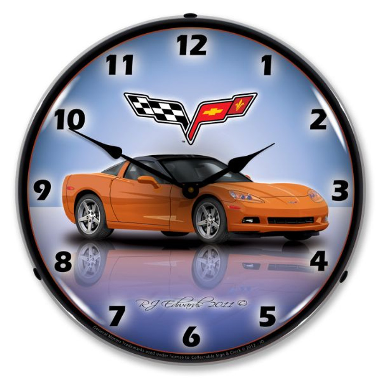 C6 Corvette Inferno Orange Lighted Wall Clock 14 x 14 Inches