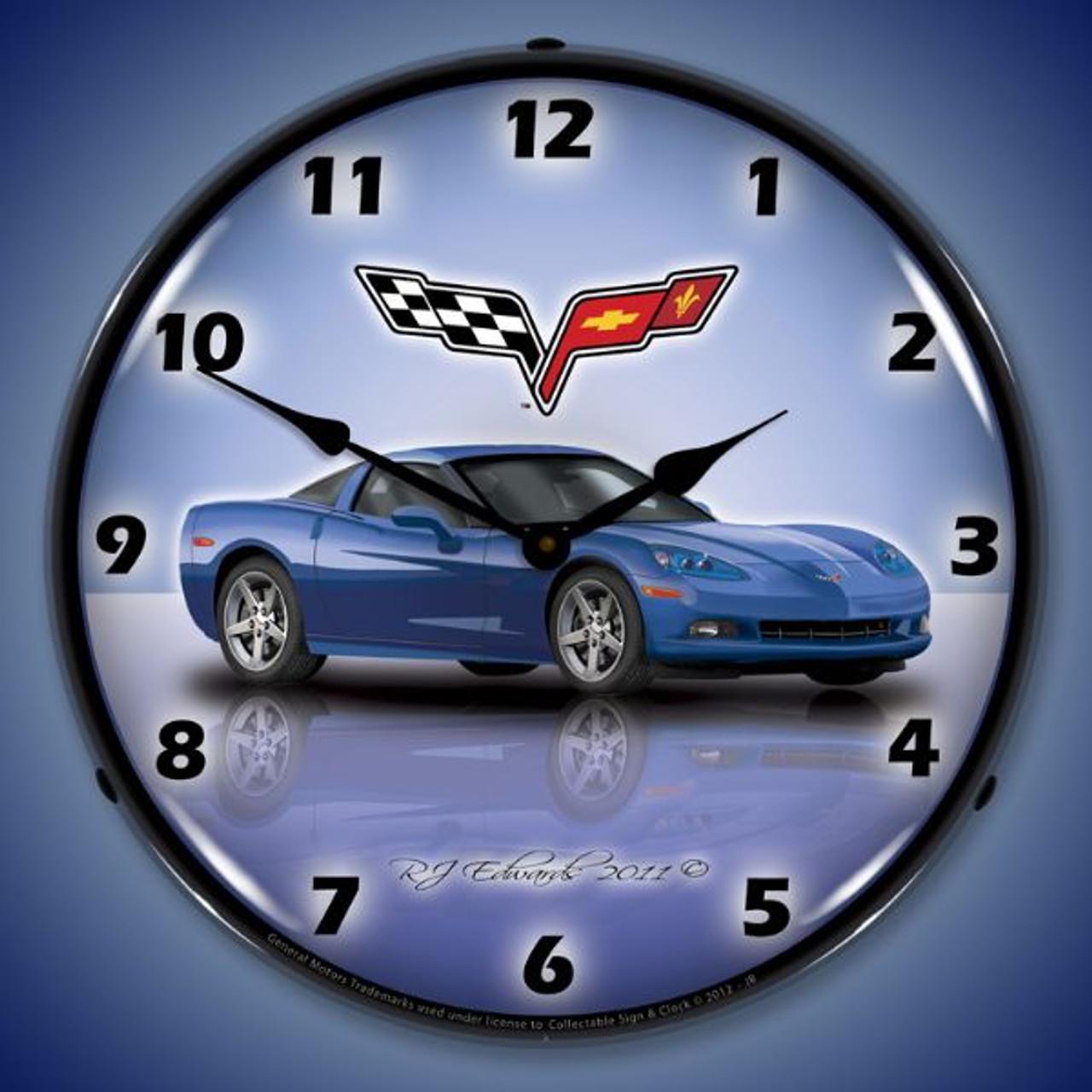 C6 Corvette Jetstream Blue Lighted Wall Clock 14 x 14 Inches