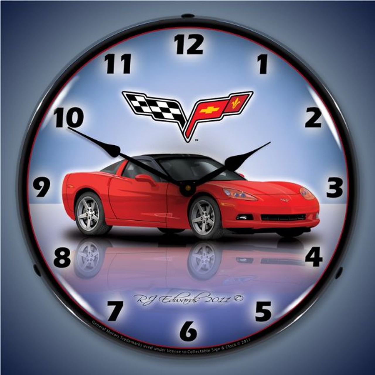 C6 Corvette Torch Red Lighted Wall Clock 14 x 14 Inches