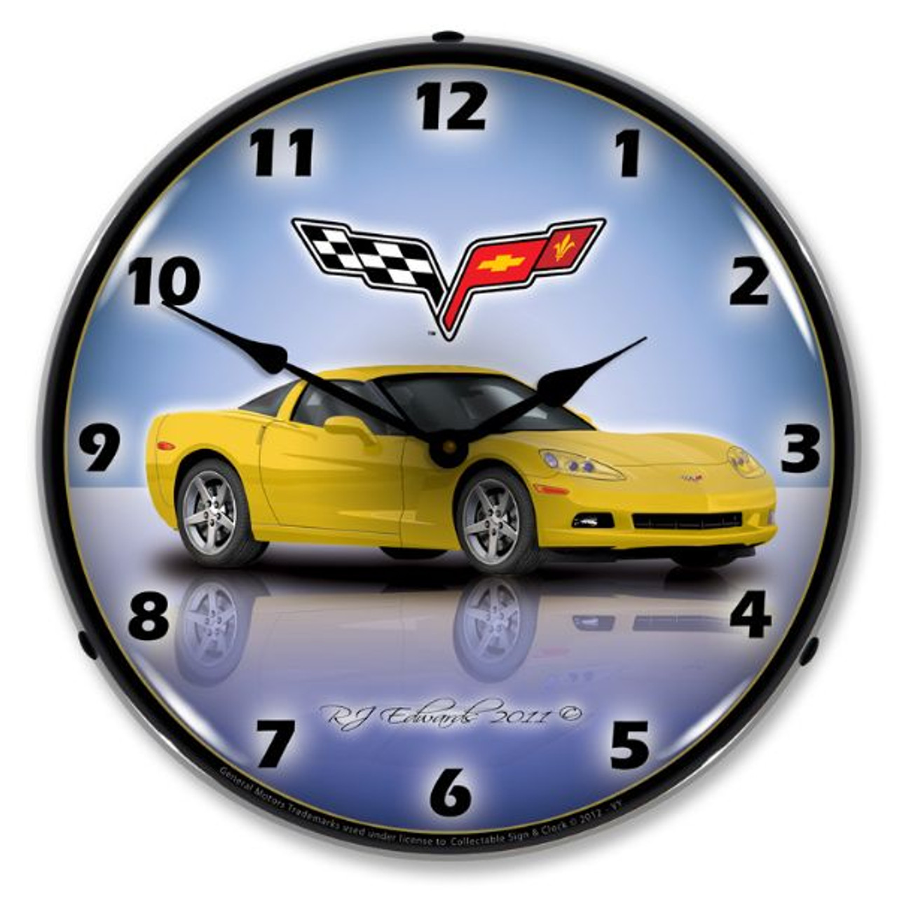 C6 Corvette Velocity Yellow Lighted Wall Clock 14 x 14 Inches