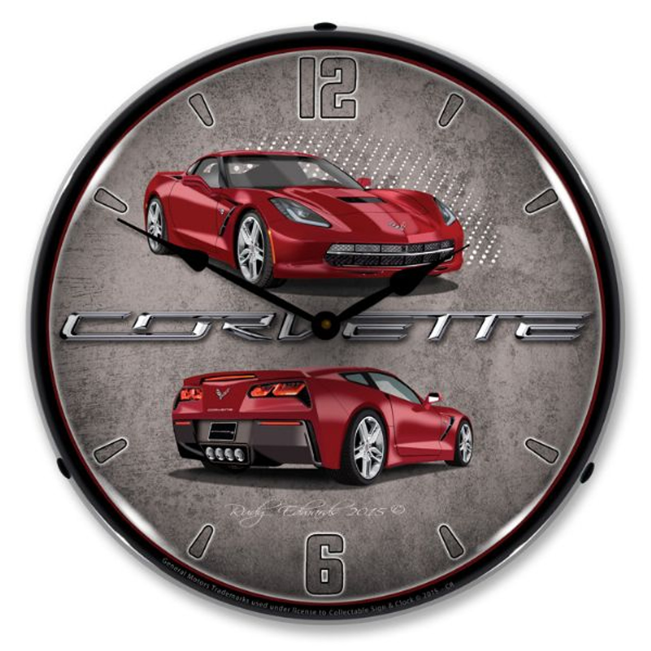 C7 Corvette Crystal Red Lighted Wall Clock 14 x 14 Inches