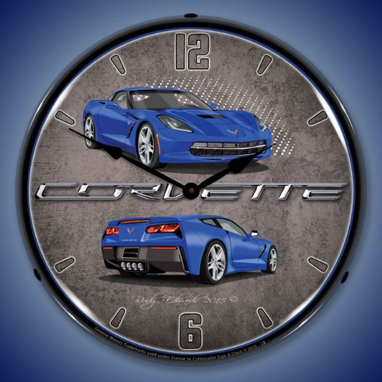 C7 Corvette Laguna Blue Lighted Wall Clock 14 x 14 Inches