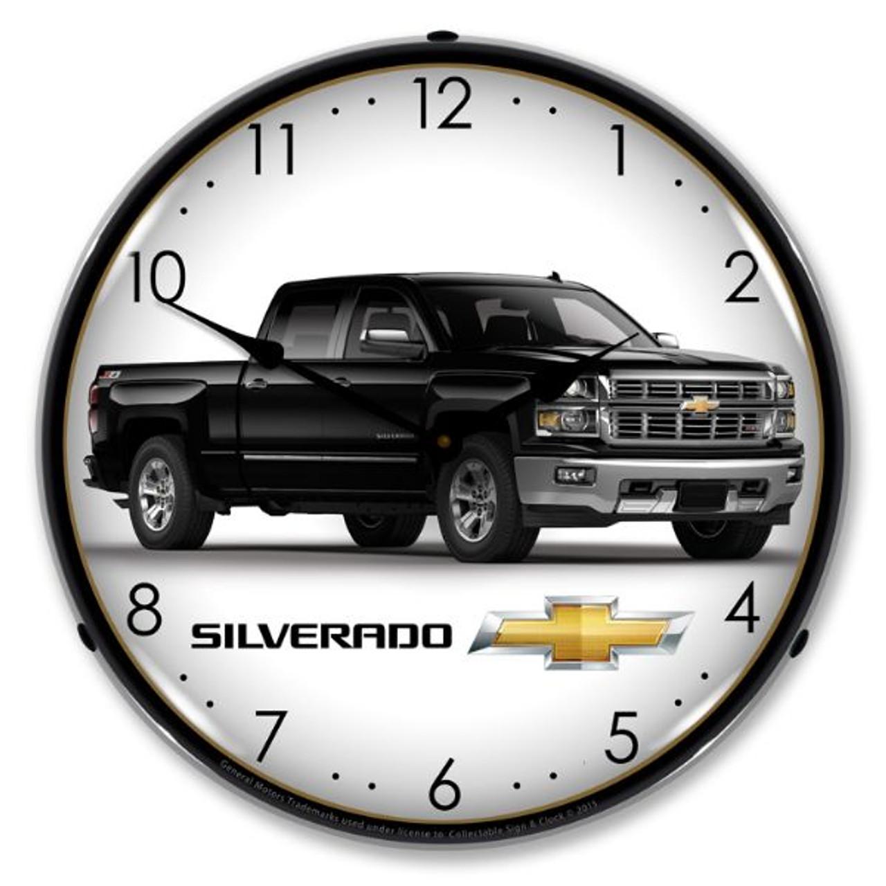 Chevrolet Silverado Black Lighted Wall Clock 14 x 14 Inches