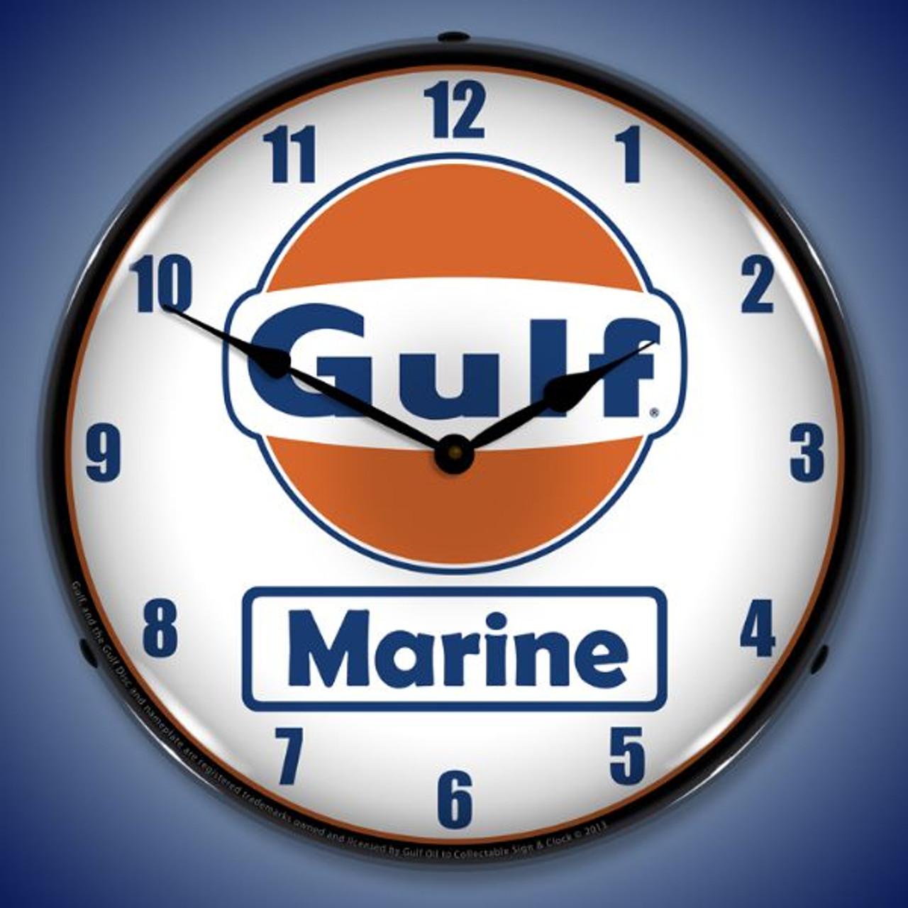Gulf Marine Lighted Wall Clock 14 x 14 Inches