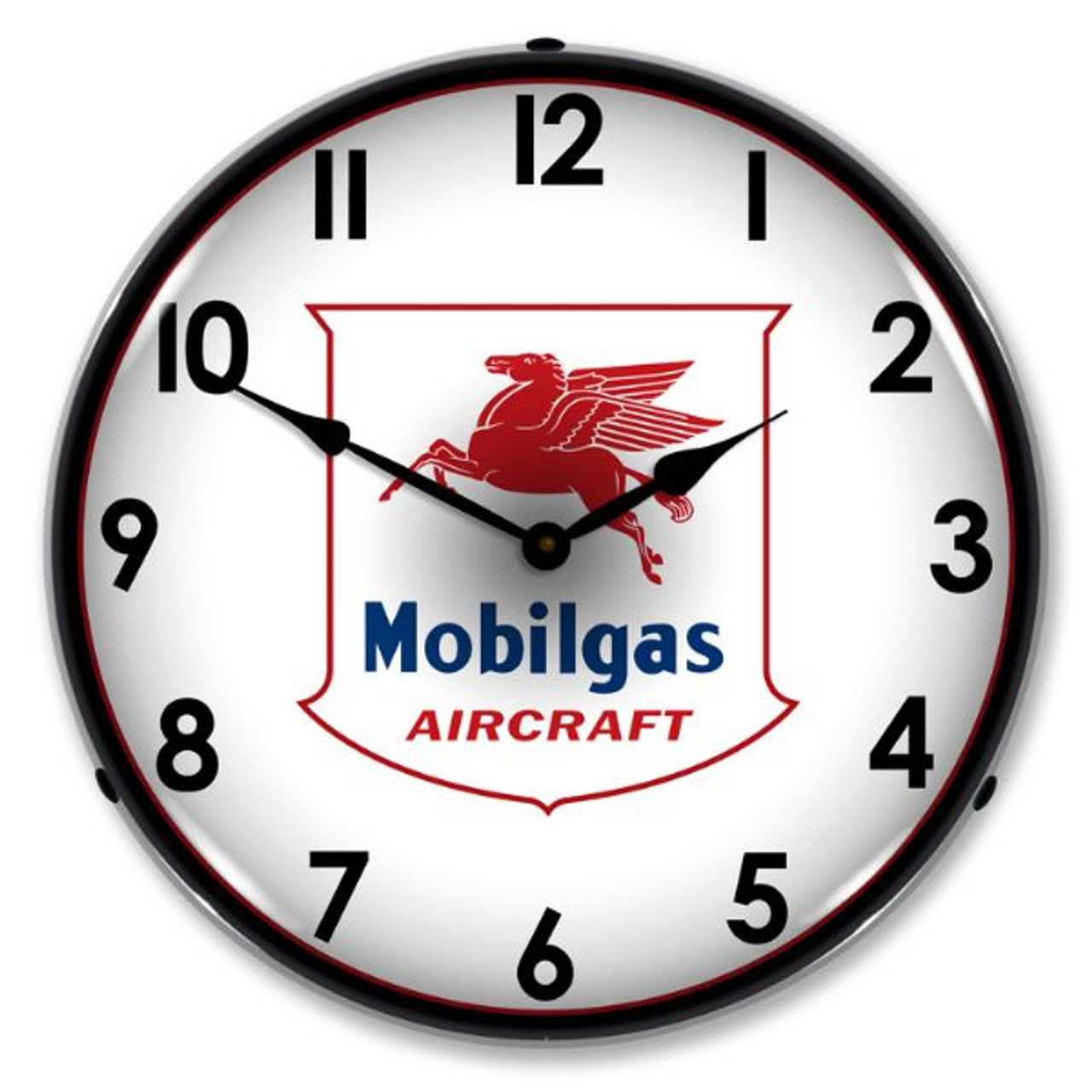 Mobilgas Avaition Lighted Wall Clock 14 x 14 Inches