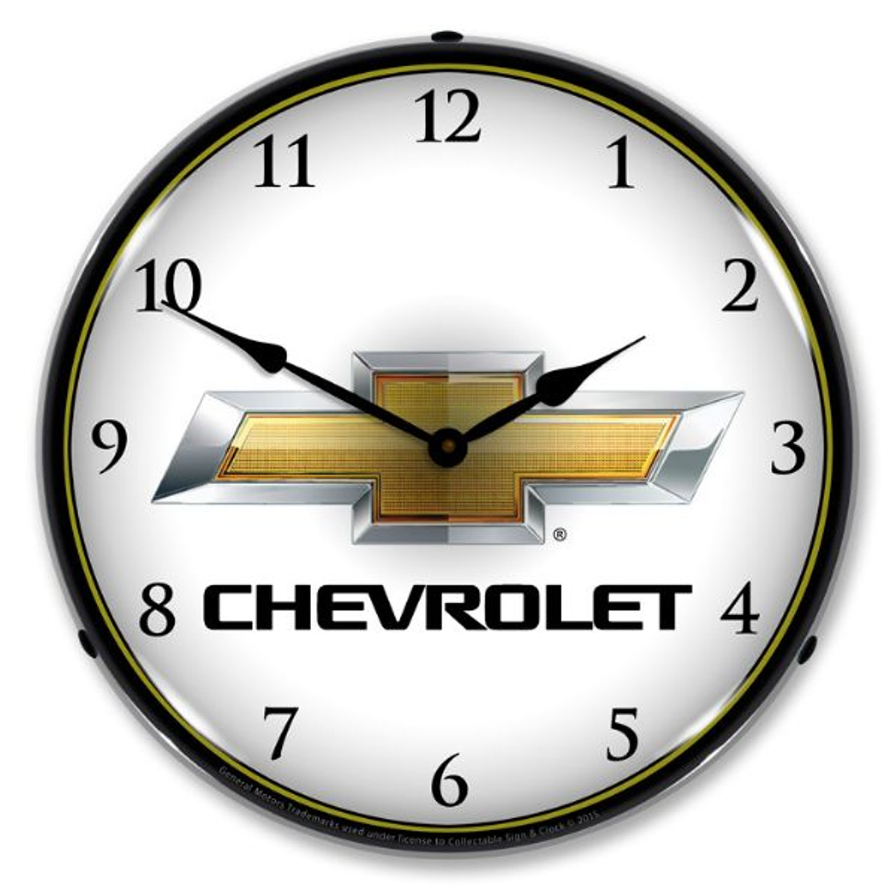 Chevrolet Bowtie Lighted Wall Clock 14 x 14 Inches