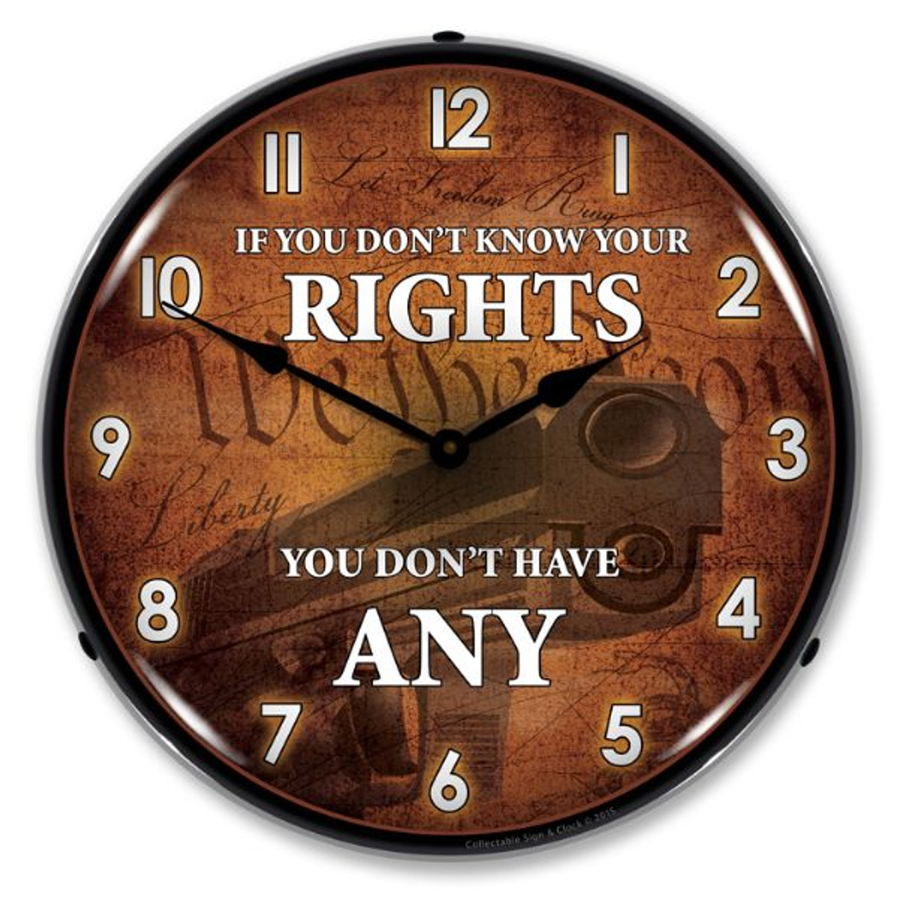 Know Your Rights Lighted Wall Clock 14 x 14 Inches