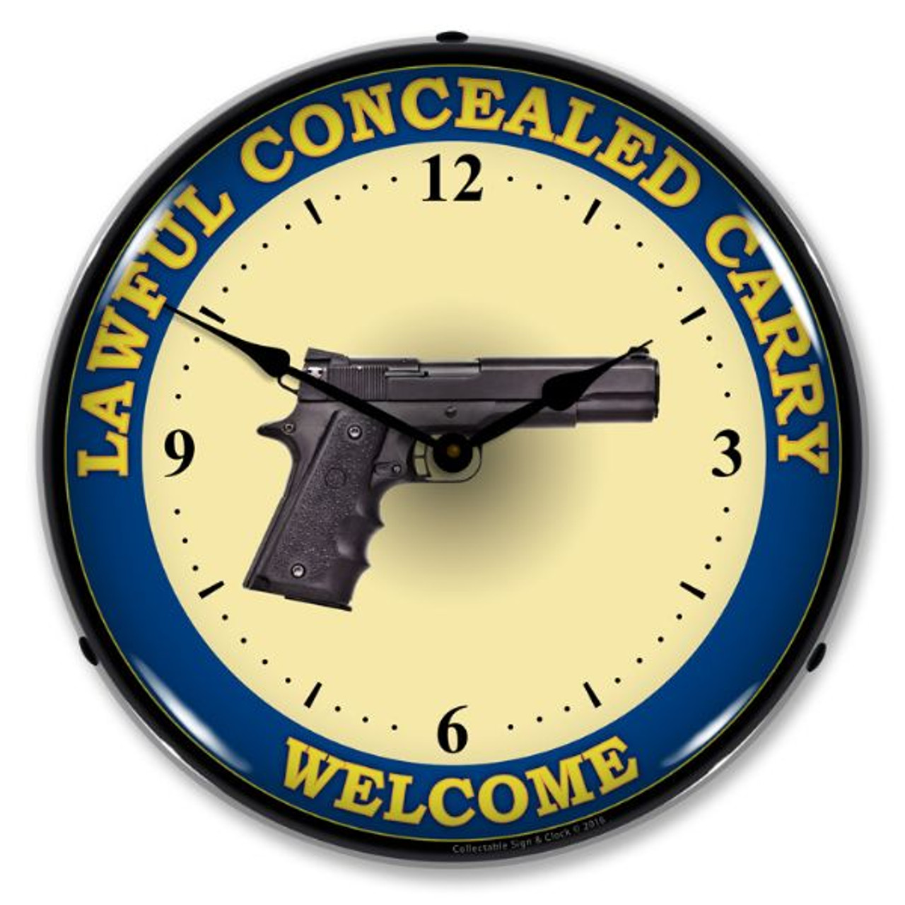 Lawful Concealed Carry Lighted Wall Clock 14 x 14 Inches