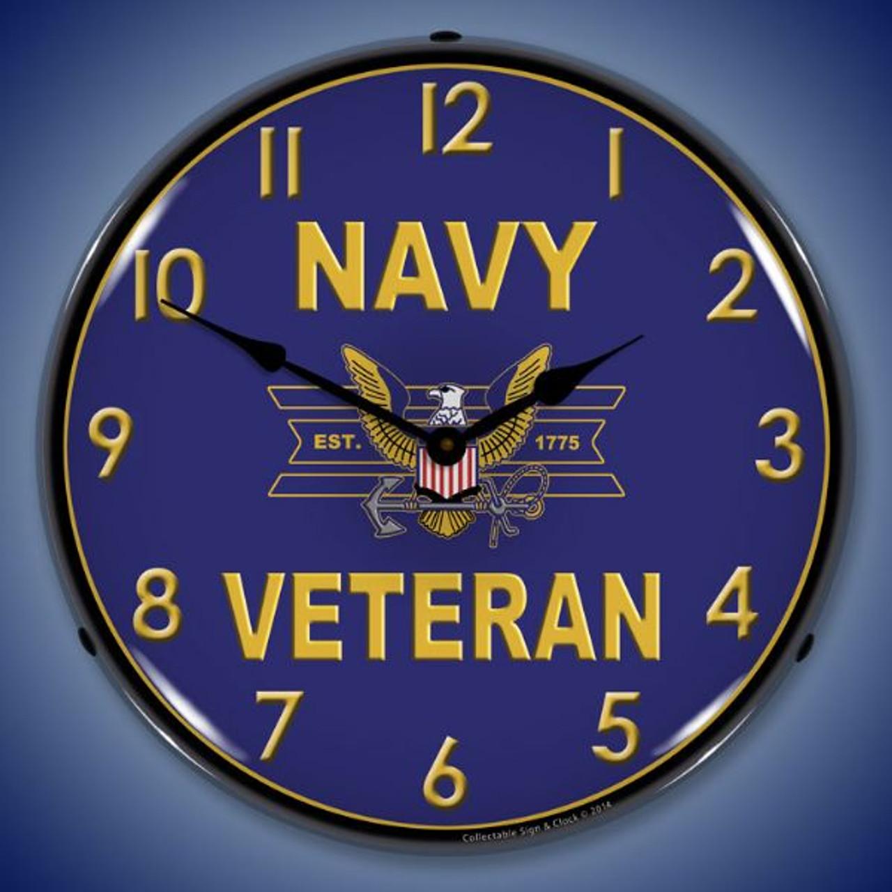 Navy Veteran Lighted Wall Clock 14 x 14 Inches