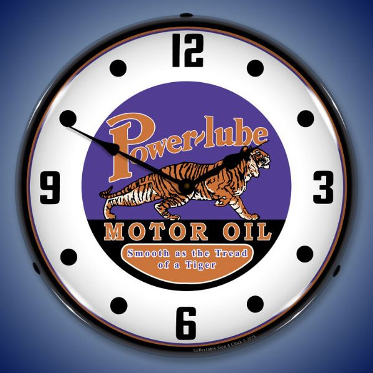 Powerlube Motor Oil Lighted Wall Clock 14 x 14 Inches