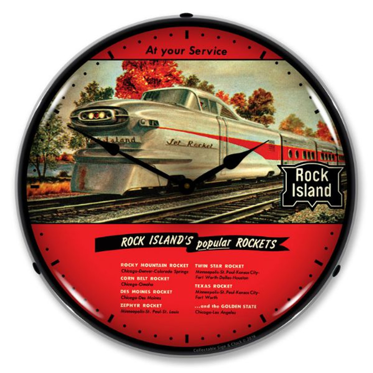 Rock Island Rockets Lighted Wall Clock 14 x 14 Inches