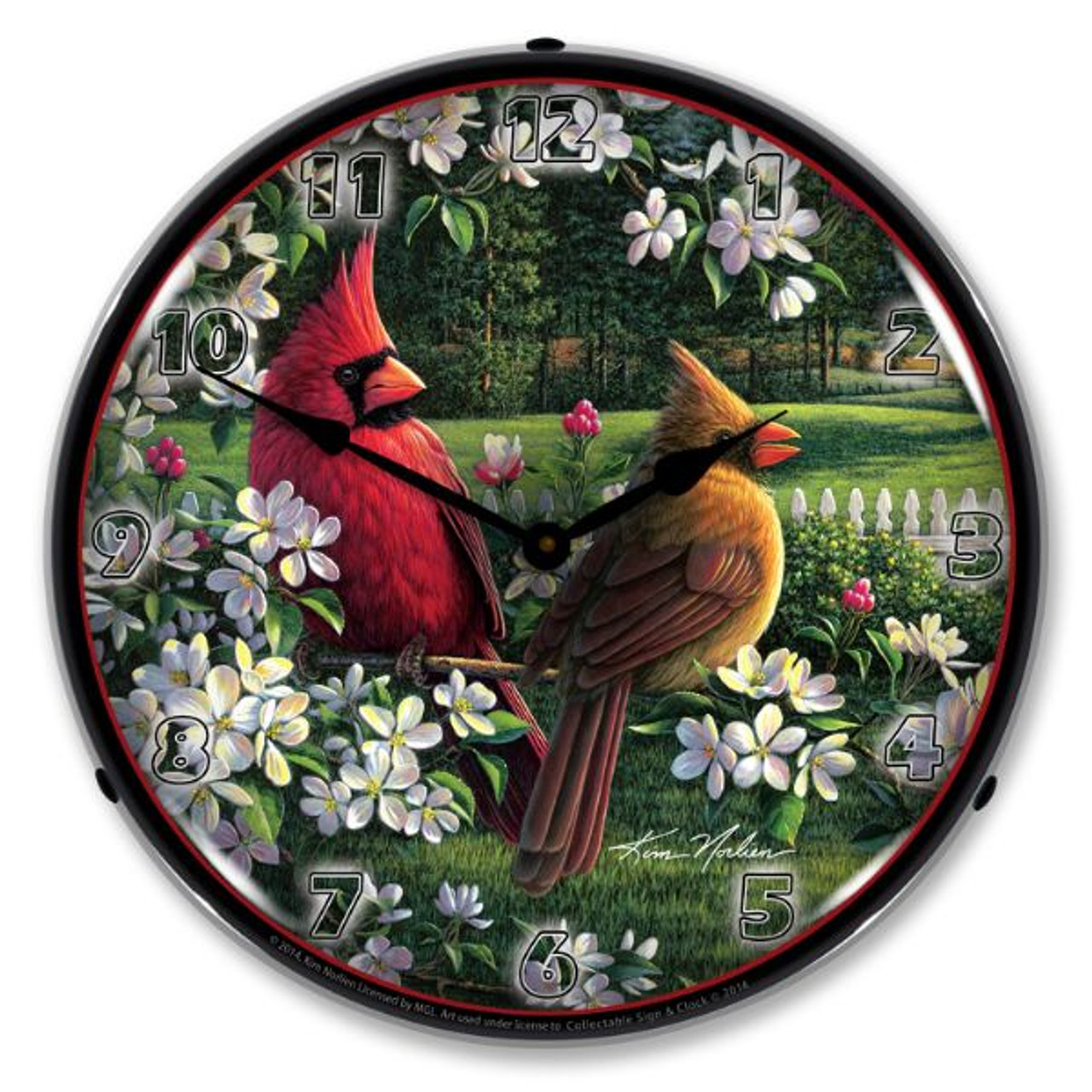 Spring Cardinals Lighted Wall Clock 14 x 14 Inches