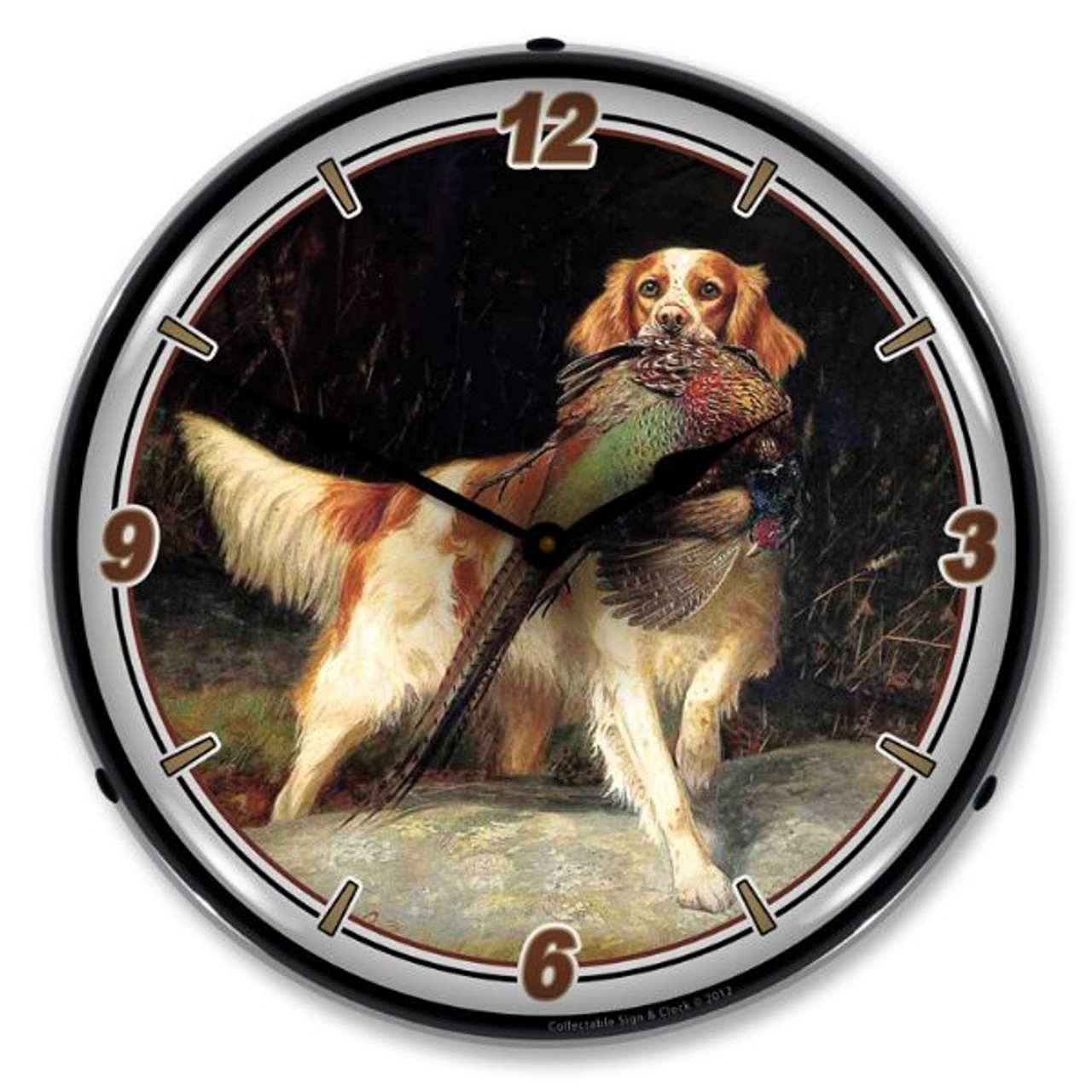 Bird and Setter Lighted Wall Clock 14 x 14 Inches