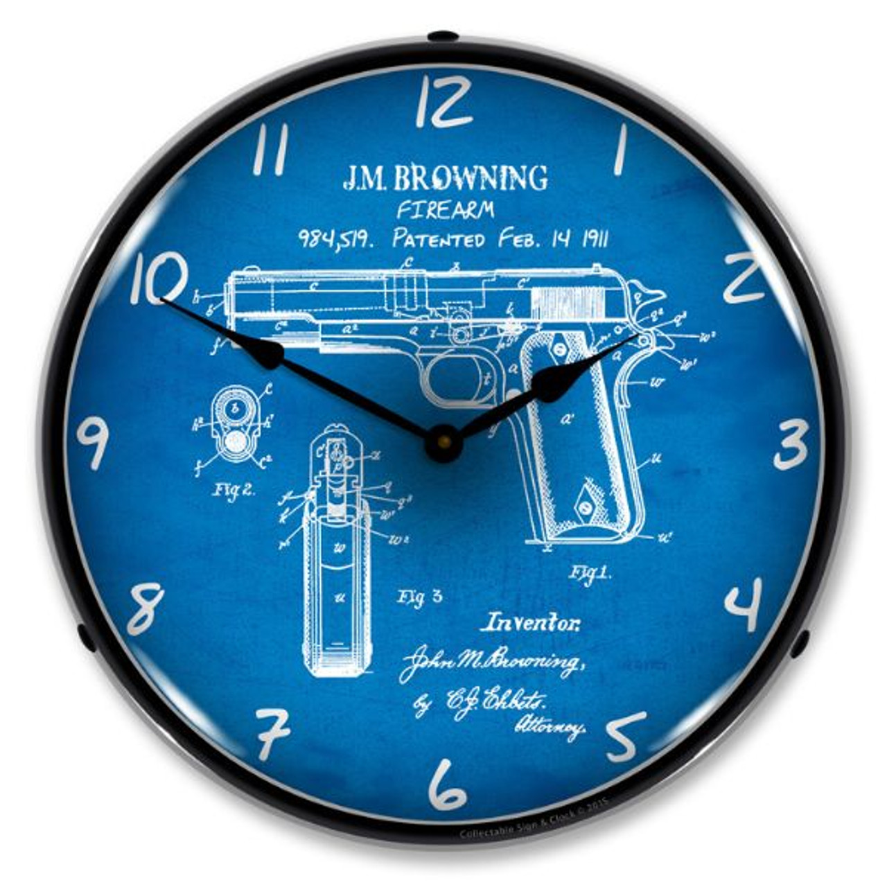 Colt 1911 Patent Lighted Wall Clock 14 x 14 Inches
