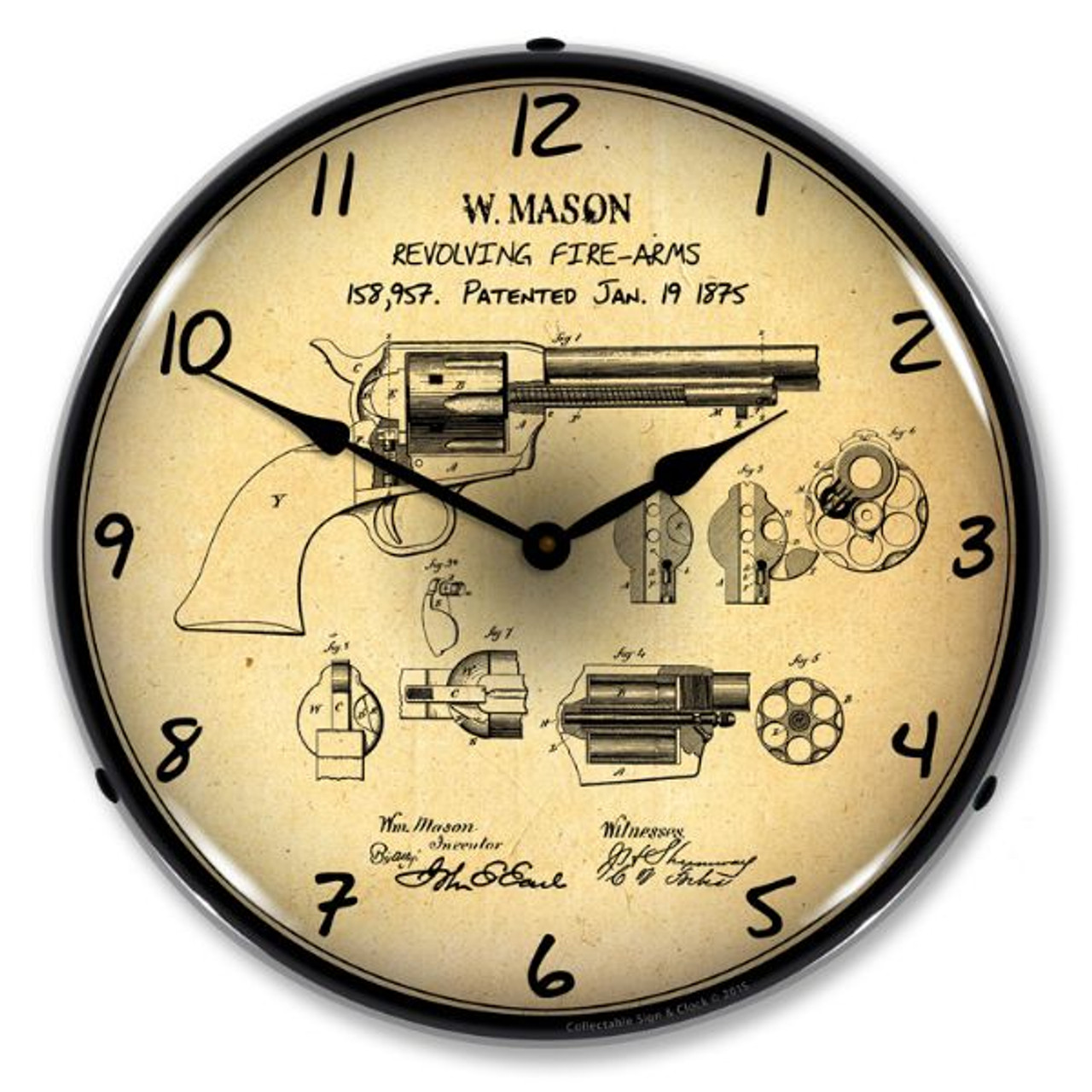 Colt Peacemaker Patent Lighted Wall Clock 14 x 14 Inches