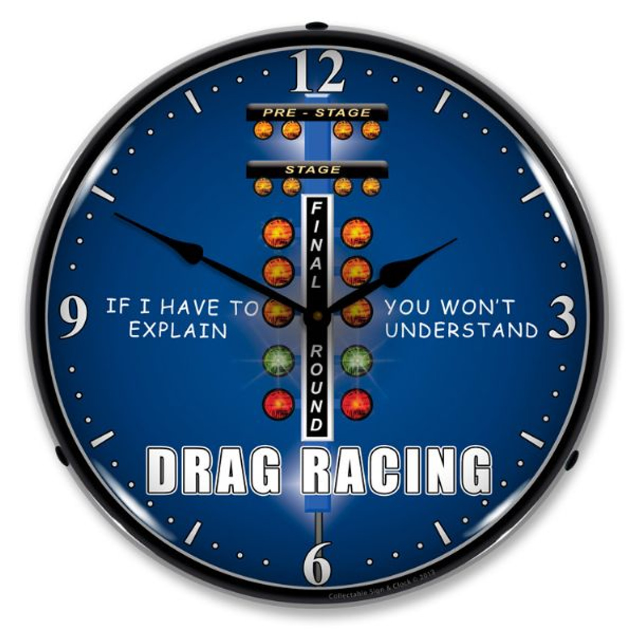 Drag Racing Lighted Wall Clock 14 x 14 Inches