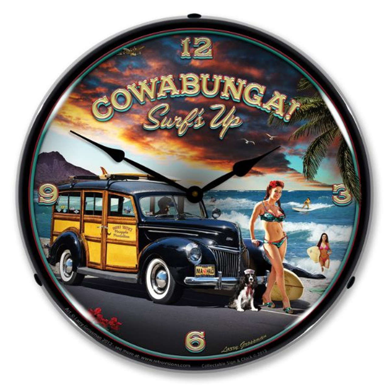 Cowabunga Lighted Wall Clock 14 x 14 Inches