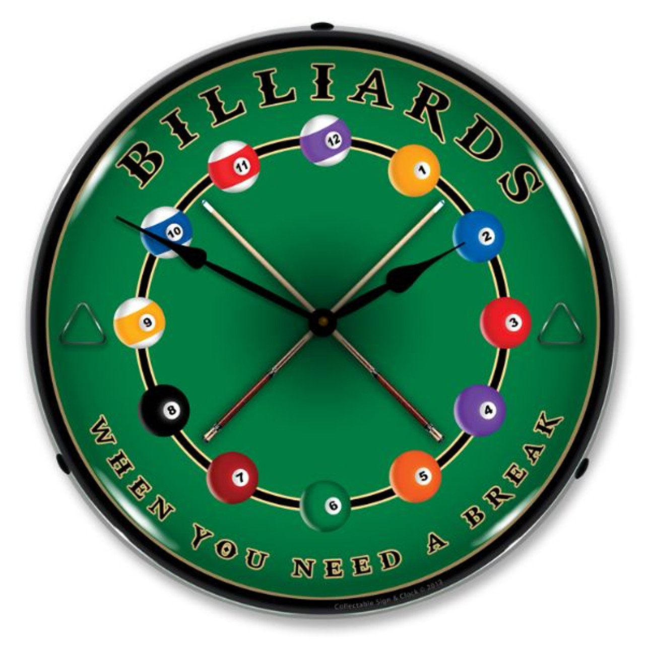 Billiards Lighted Wall Clock 14 x 14 Inches