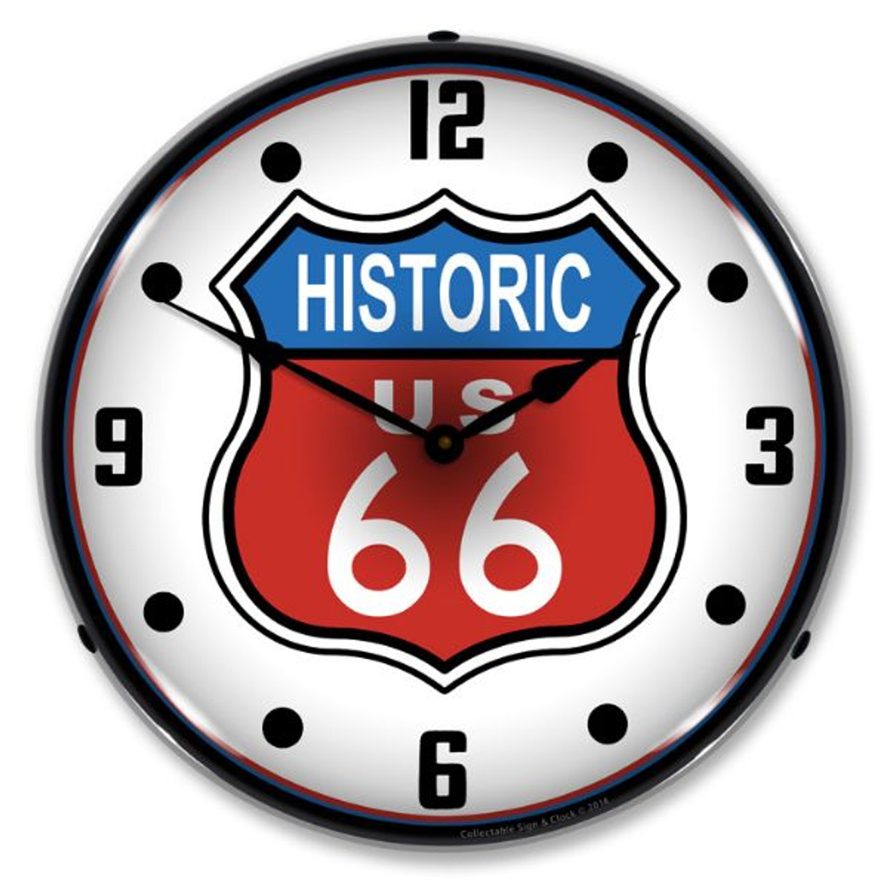 Historic Route 66 Lighted Wall Clock 14 x 14 Inches