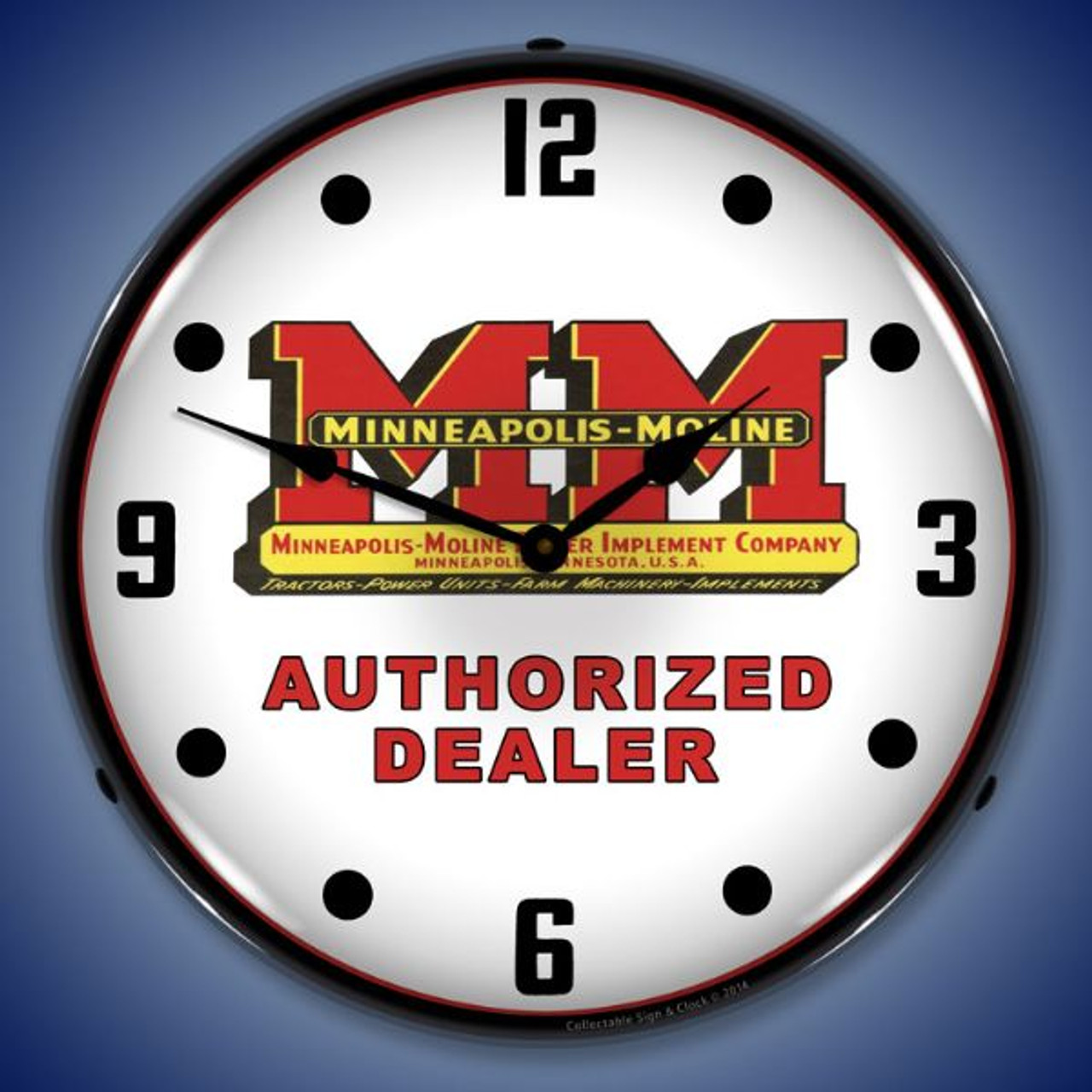 Minneapolis Moline Lighted Wall Clock 14 x 14 Inches