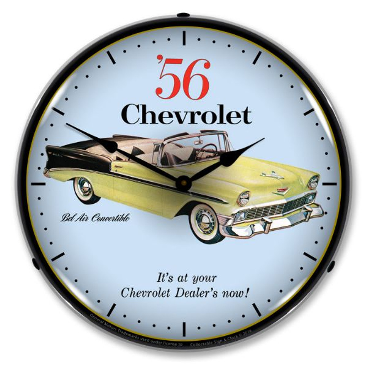 1956 Chevrolet Bel Air Convertible Lighted Wall Clock 14 x 14 Inches
