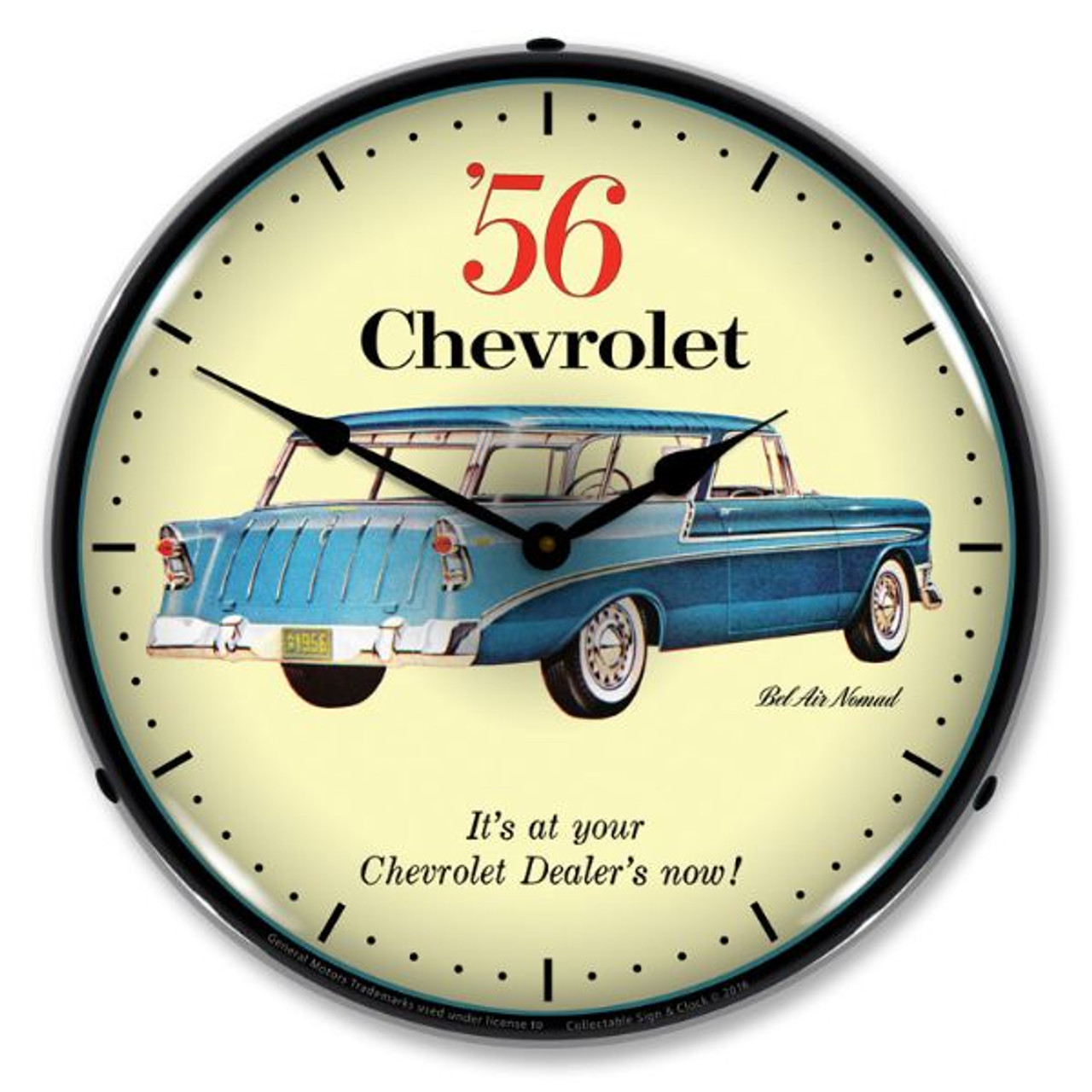 1956 Chevrolet Nomad LED Lighted Wall Clock 14 x 14 Inches