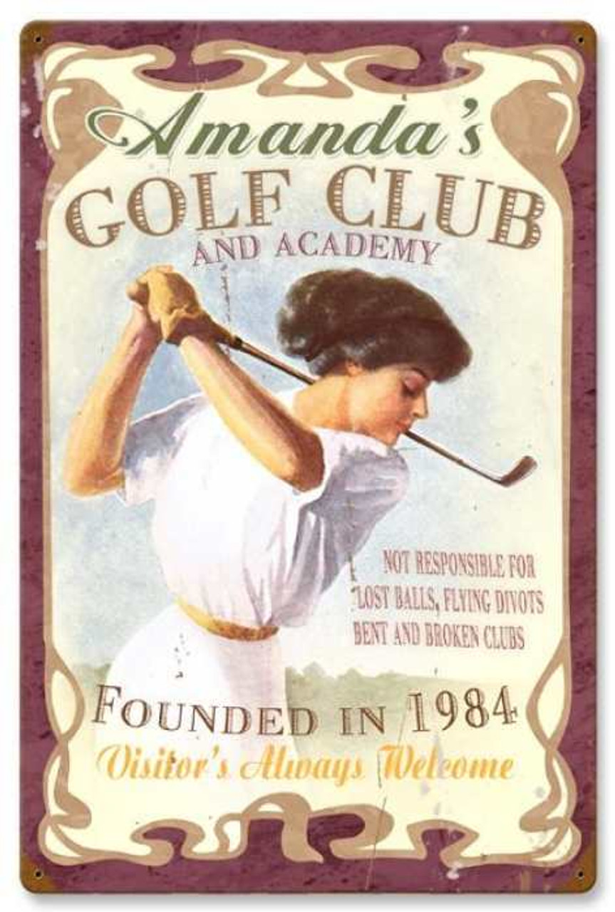 Vintage Golf Club Metal Sign - Personalized 16 x 24 Inches