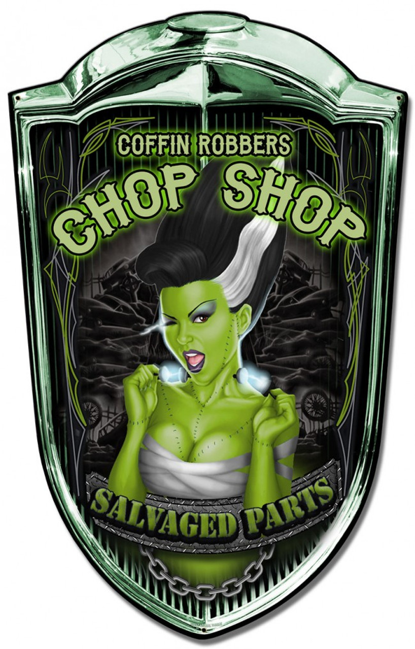 Grill Metal Sign Chop Shop Babe 24 x 36 Inches
