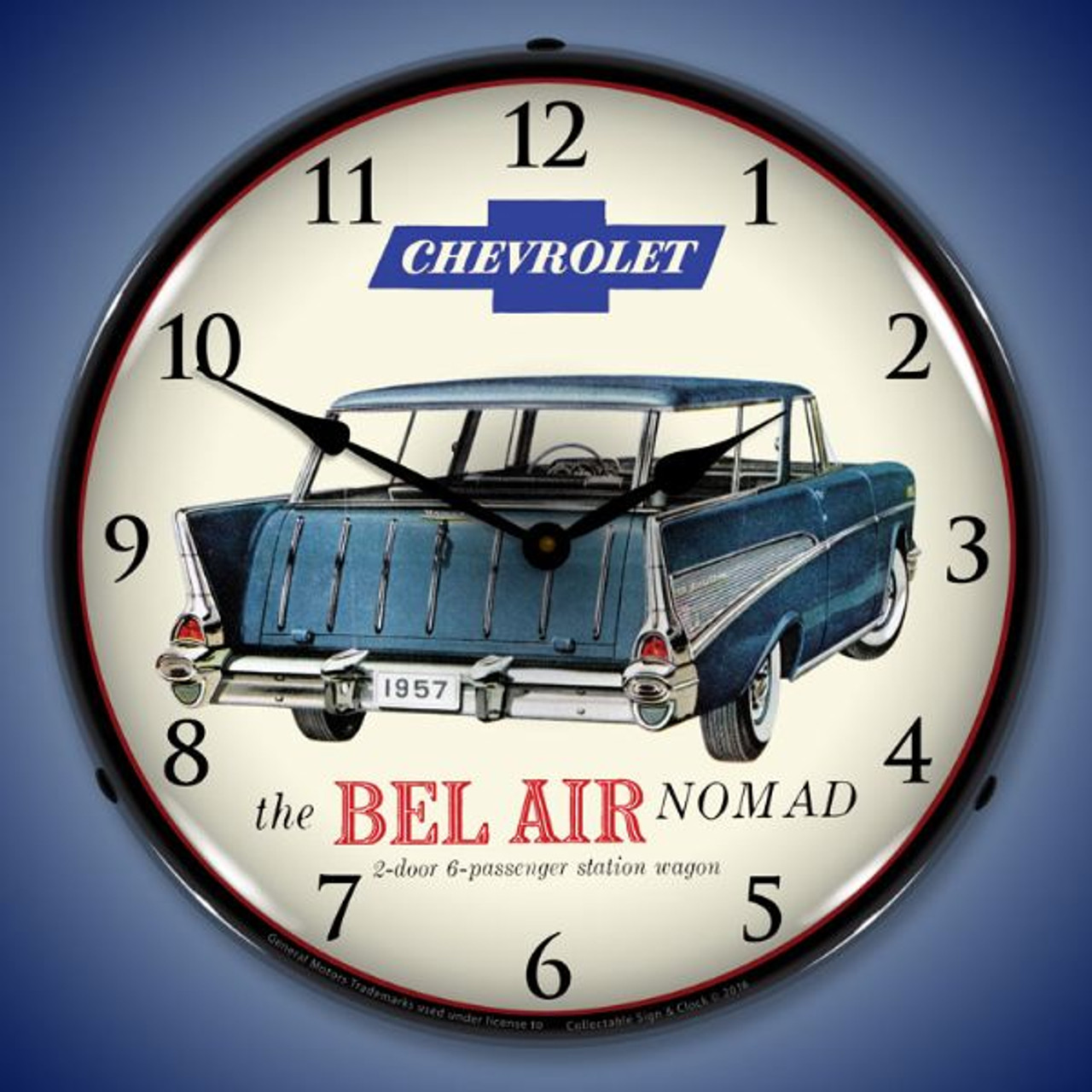 1957 Chevrolet Bel Air Nomad Lighted Wall Clock 14 x 14 Inches