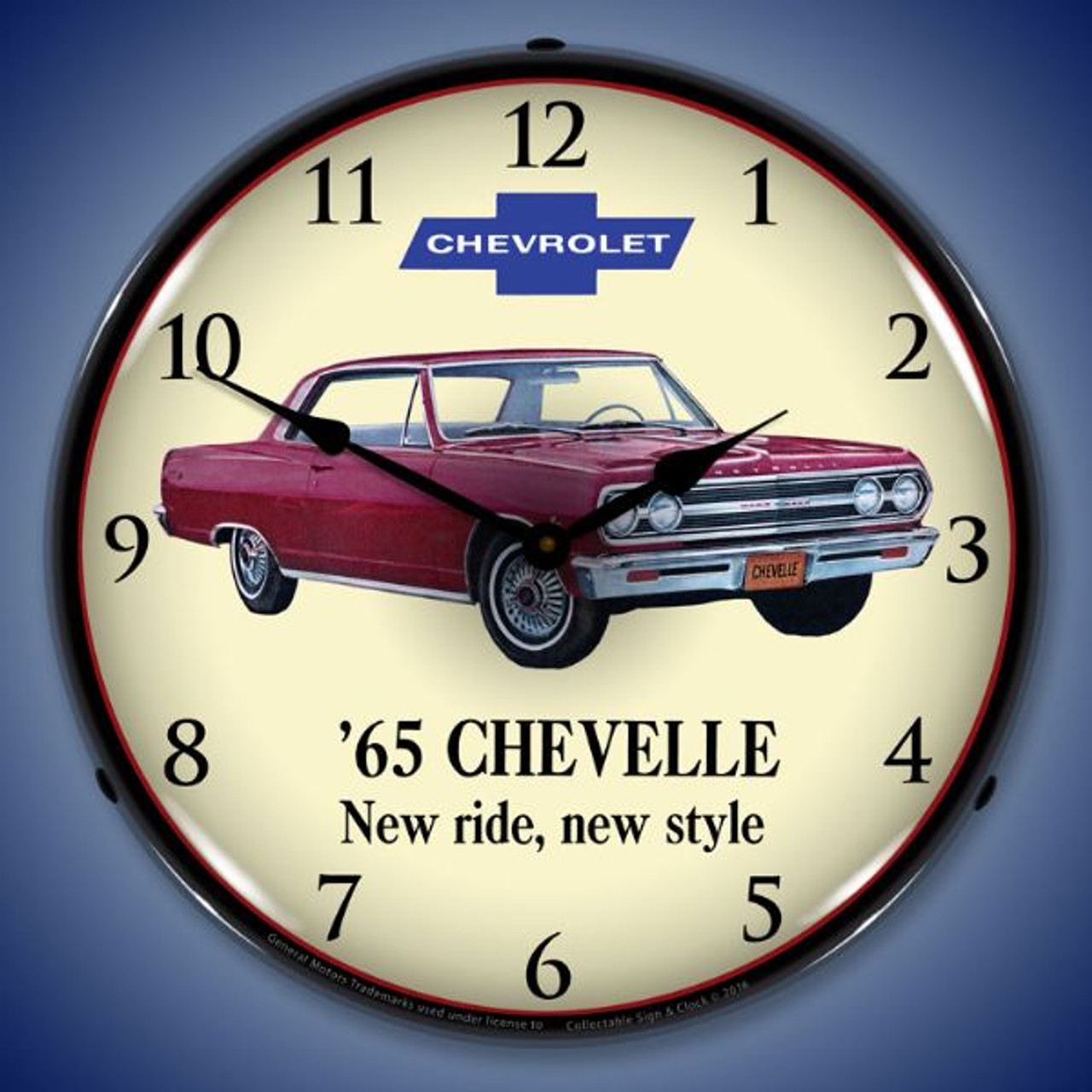 1965 Chevelle Lighted Wall Clock 14 x 14 Inches