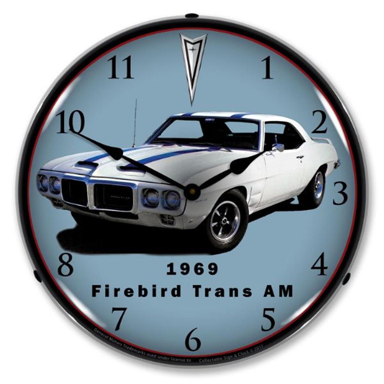 1969 Firebird Trans Am Lighted Wall Clock 14 x 14 Inches