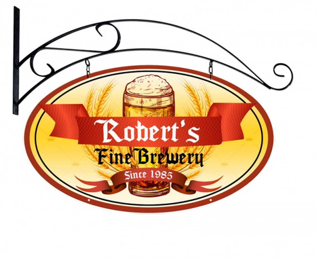 Fine Brewery Double Sided Oval Metal Sign - Personalized 24 x 14 Inches