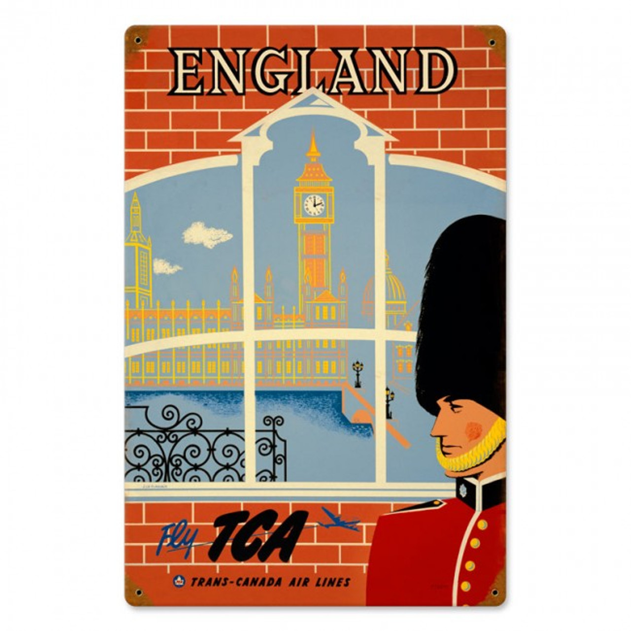England Travel Metal Sign 8 x 14 Inches