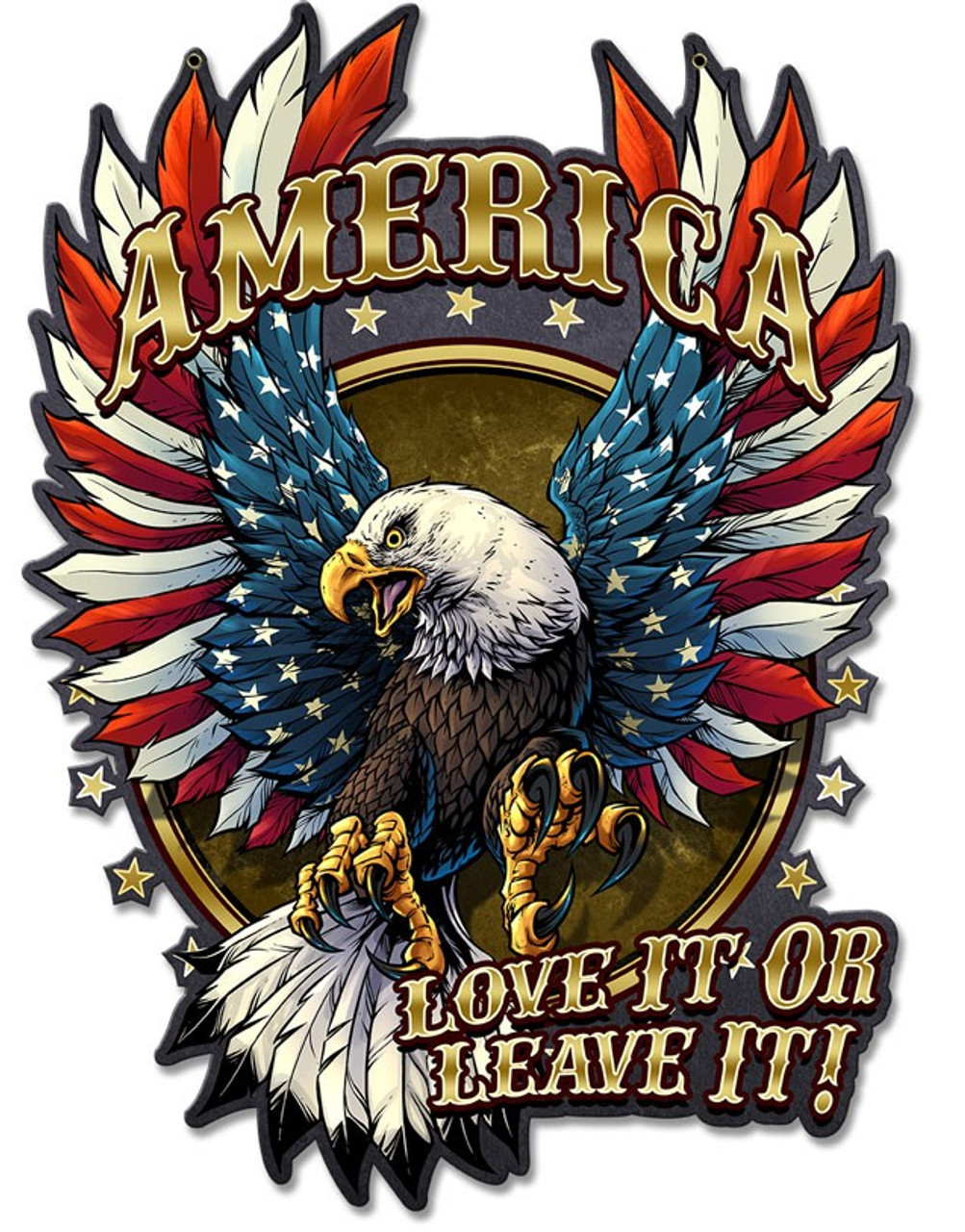 Eagle with US Flag Stripes Metal Sign 17 x 12 Inches