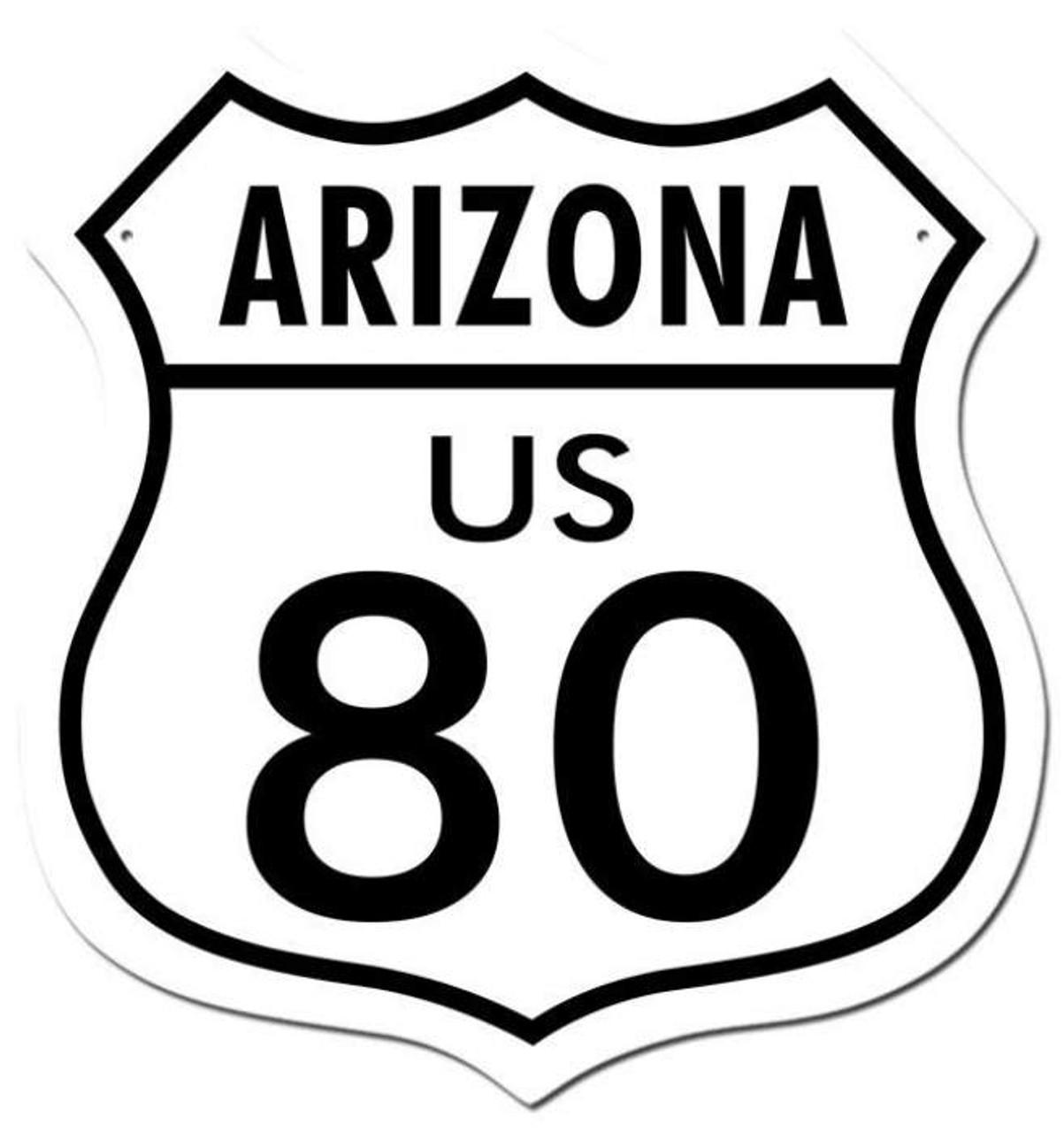Retro Route 80 Arizona Shield Metal Sign 15 x 15 Inches